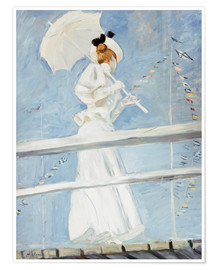 Poster Young Woman with a Parasol on a Jetty