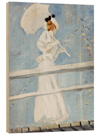 Wood print  Young woman with umbrella at the pier - Paul Cesar Francois Helleu