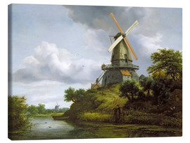 Canvas print  Windmill on a river - Jacob Isaacksz van Ruisdael