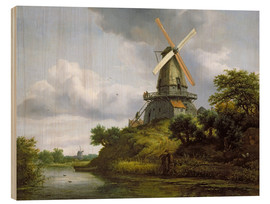 Wood print  Windmill on a river - Jacob Isaacksz van Ruisdael