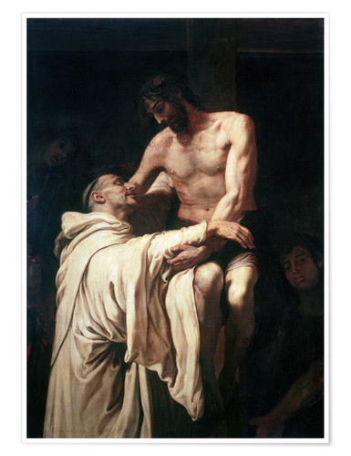 Premium poster Christ Embracing St. Bernard
