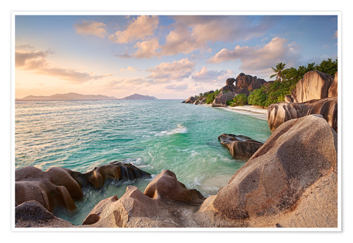 Premium poster Welcome to La Digue