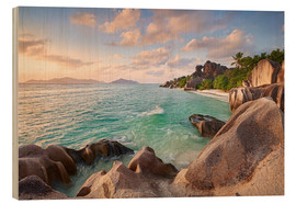 Wood print  Welcome to La Digue - Michael Breitung