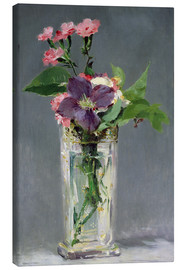 Canvas print  Pinks and Clematis in a Crystal Vase - Edouard Manet