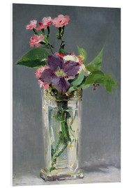 Foam board print  Pinks and Clematis in a Crystal Vase - Edouard Manet