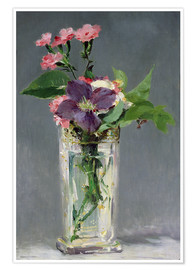 Premium poster Pinks and Clematis in a Crystal Vase