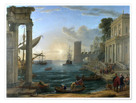 Premium poster  Seaport with the Embarkation of the Queen of Sheba - Claude Lorrain