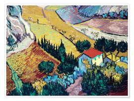 Poster Landscape with House and Ploughman