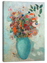 Canvas print  Flowers in a Turquoise Vase - Odilon Redon