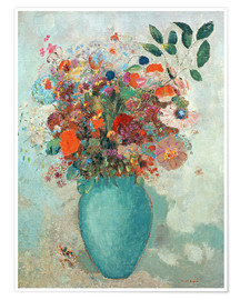 Premium poster Flowers in a Turquoise Vase