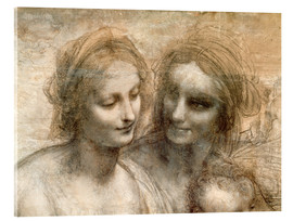 Acrylic print  Detail of the Heads of the Virgin and St. Anne - Leonardo da Vinci