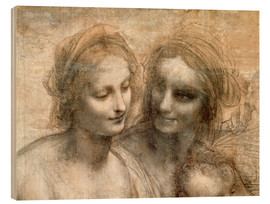 Wood print  Detail of the Heads of the Virgin and St. Anne - Leonardo da Vinci