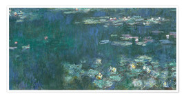 Premium poster Water Lilies, Green Reflections 2