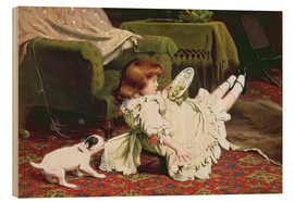 Wood print  Time to Play - Charles Burton Barber