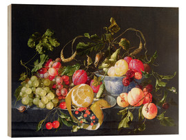 Wood print  A still life with fruits - Cornelis de Heem
