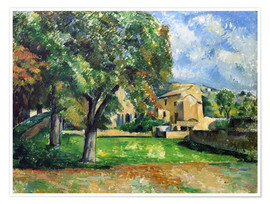 Poster  Chestnut trees an farm - Paul Cézanne