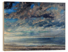 Wood print  Beach at sunset - Gustave Courbet