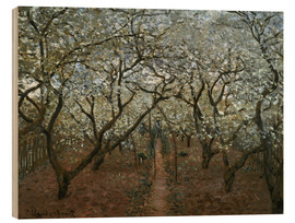 Wood print  Blossoming Orchard - Claude Monet