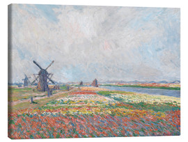 Canvas print  Flower fields and Windmills - Claude Monet