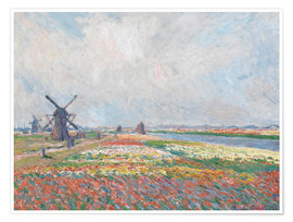Poster Flower fields and Windmills