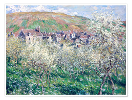 Premium poster  Plum Trees in Blossom at Vetheuil - Claude Monet