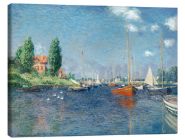 Canvas  Red boats at Argenteuil - Claude Monet