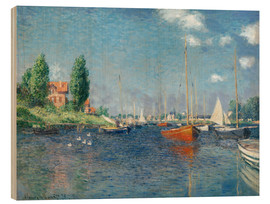 Wood print  Red boats at Argenteuil - Claude Monet