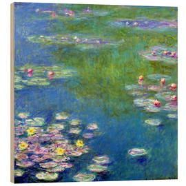 Wood print  Nymphéas - Claude Monet
