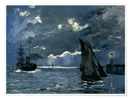 Premium poster  Ships in Moonshine - Claude Monet
