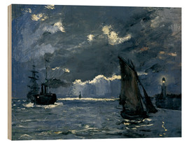 Wood print  Ships in Moonshine - Claude Monet