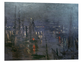 Foam board print  Harbour of Le Havre at night - Claude Monet