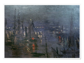 Claude Monet - Harbour of Le Havre at night
