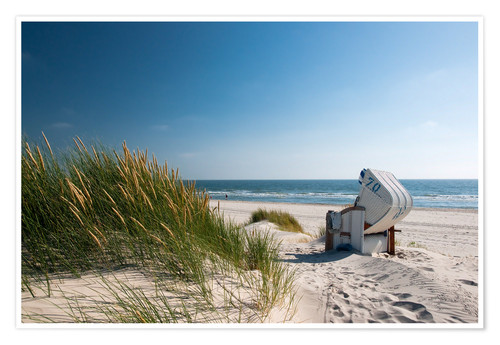 Premium poster Beach with dunes and beach grass