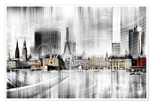 Premium poster Hamburg Skyline, Germany