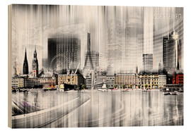 Wood print  Hamburg Skyline, Germany - Städtecollagen