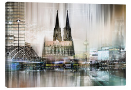 Canvas print  Abstract skyline in Cologne, Germany - Städtecollagen