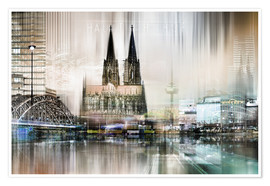 Premium poster  Abstract skyline in Cologne, Germany - Städtecollagen