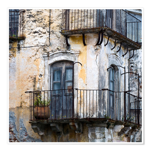 Premium poster Medieval facade in the Sicilian mountain village Forza d'Agro