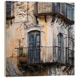 Wood print  Medieval facade in the Sicilian mountain village Forza d'Agro - CAPTAIN SILVA