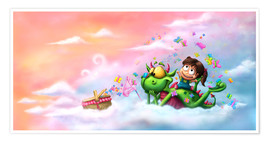 Premium poster  Butterfly picnic in the clouds - Tooshtoosh
