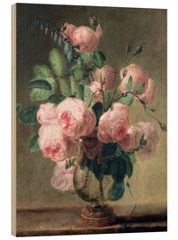 Wood print  Vase of flowers - Pierre Joseph Redouté