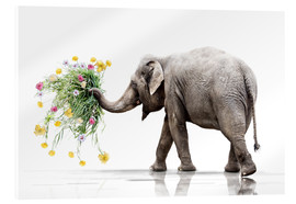 Acrylic glass  Elephant with Flower - Werner Dreblow