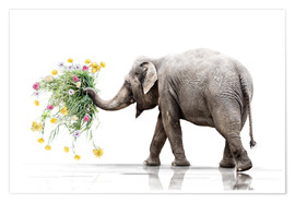 Poster Elephant with Flower