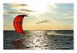 Premium poster Kite surfers on the high seas