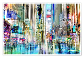 Premium poster USA NYC New York Abstrakte Skyline Collage