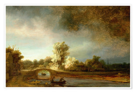 Premium poster  The Stone Bridge - Rembrandt van Rijn