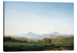 Canvas print  Bohemian landscape with the Milleschauer - Caspar David Friedrich