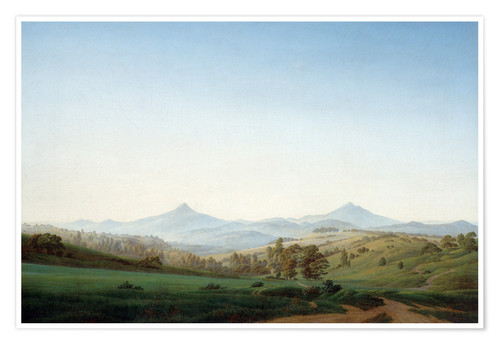 Poster Bohemian landscape with the Milleschauer