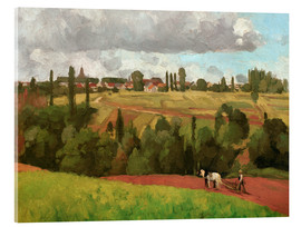 Acrylic print  Landscape with Peasant Ploughing - Camille Pissarro