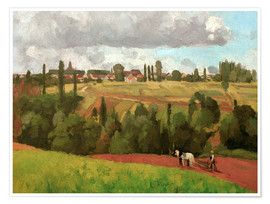 Premium poster Landscape with Peasant Ploughing